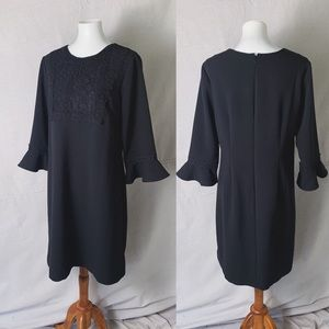 ANN TAYLOR Ponte Embroidered Bell Sleeve Dress